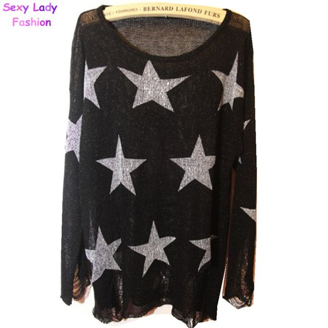 2015 Hole sweater fashion Pentagonal star hole pattern sweater Ladies Loose Knitted Jumper Knitwear Tops Free shipping