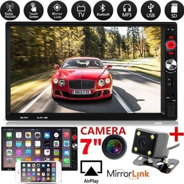 Car MP5 Audio Video Player Automobile Car Electronics 7 Inch Remote Control AUX/USB/TF/FM Support Rear View Camera