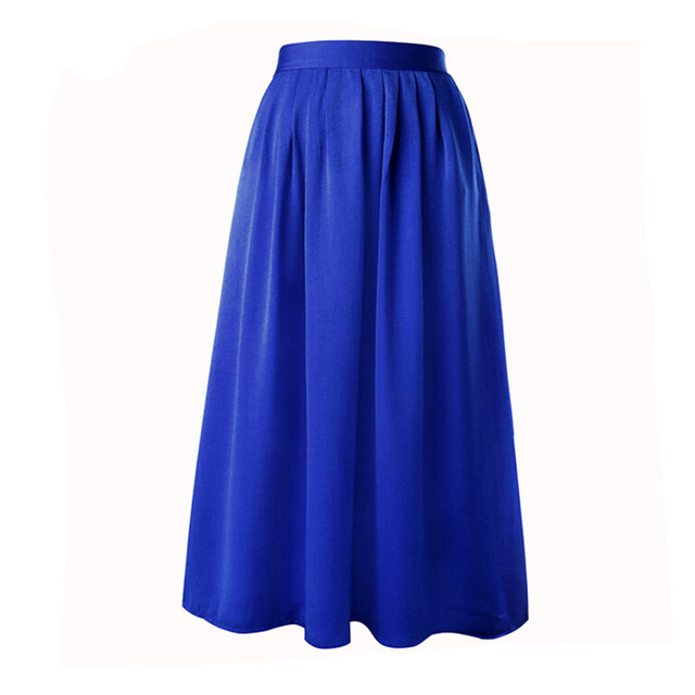2019 Summer Long Skirts Womens High Waist Pleated A Line Skirt Elastic Waist Thin Section Floor-Length Maxi Skirt Saia Faldas