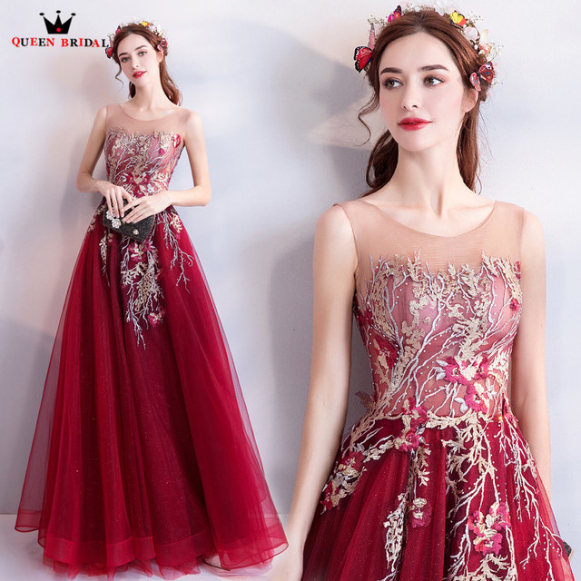 A-line Flowers Beaded Appliques Formal Elegant Wine Red Evening Dresses 2020 New Party Dress Evening Gown Robe De Soiree MT34