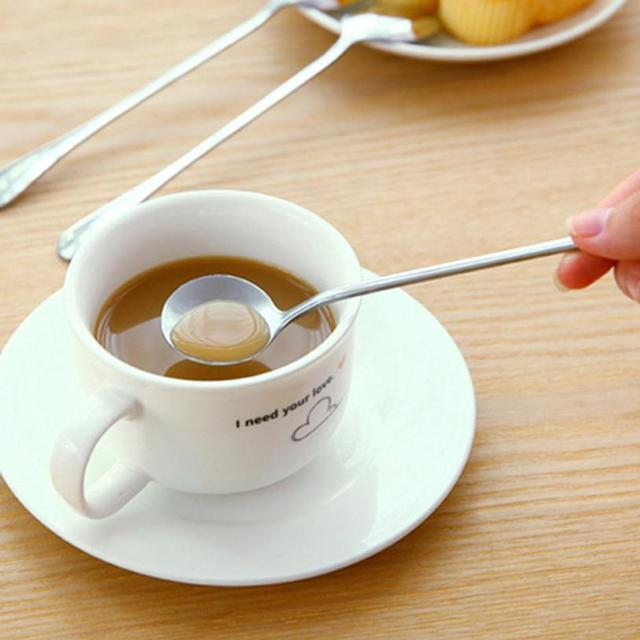 Long Handle Stainless Steel Tea Coffee Spoon Cocktail Ice Cream Soup Spoons Cutlery 2018