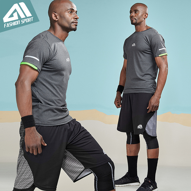 Aimpact Compression T-shirts Men Bodybuilding Gym Workout Sleeve Shirt Sport Slim Quick-dry Body Shaper Muscle Tee Shirt 3AM1055