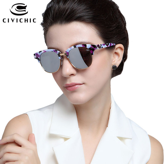 CIVICHIC High Quality Lady Fashion Sunglasses Colorful Mirror Glasses Men Retro Round Eyewear Camo Frame Cool Oculos De Sol E131