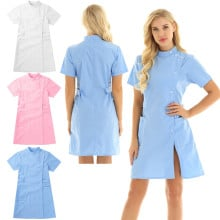 Summer Womens Short Sleeve Mandarin Collar Slanting Button Front Hospital Medical Doctors Coat Nurse Scrub Lab Uniform Dress