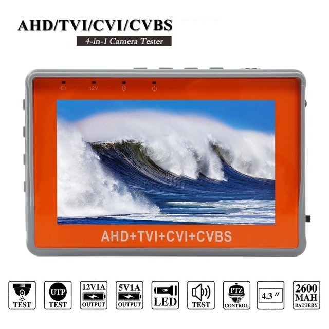 5MP AHD CCTV Tester 4 In 1 For AHD TVI CVI CVBS Analog Camera Security Monitor With 4.3-Inch LCD Screen