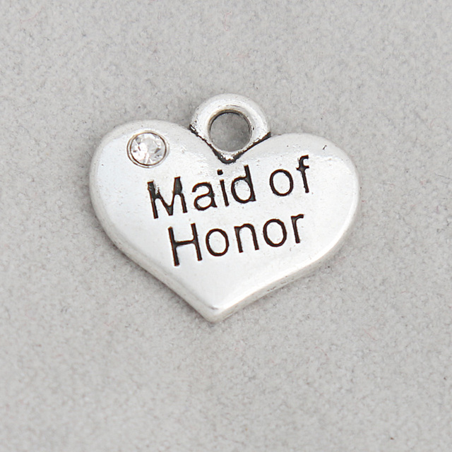 RAINXTAR Fashion Heart Alloy Maid of Honor Jewelry Message Charms For Wedding Bridal 15*17mm 50pcs AAC1916