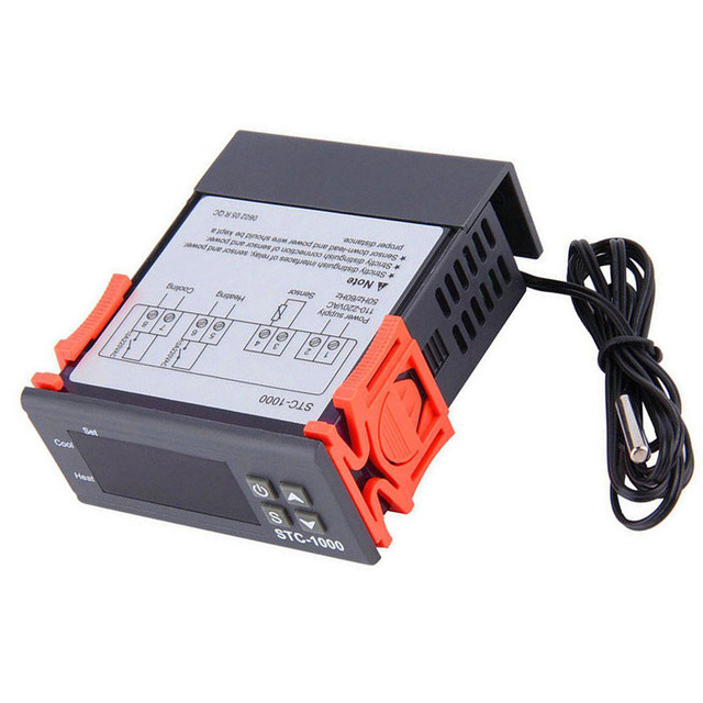 LED Digital Temperature Controller STC-1000 12V 24V 110V to 220V Thermoregulator thermostat With Heater And Cooler W/NTC Cable