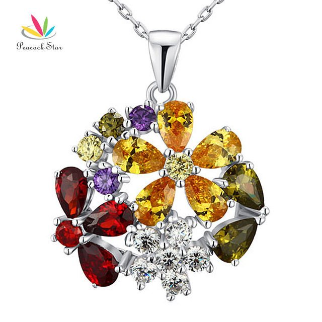 Peacock Star 3.5 Carat Multi-Color Flower Solid 925 Sterling Silver Pendant Necklace Jewelry CFN8015