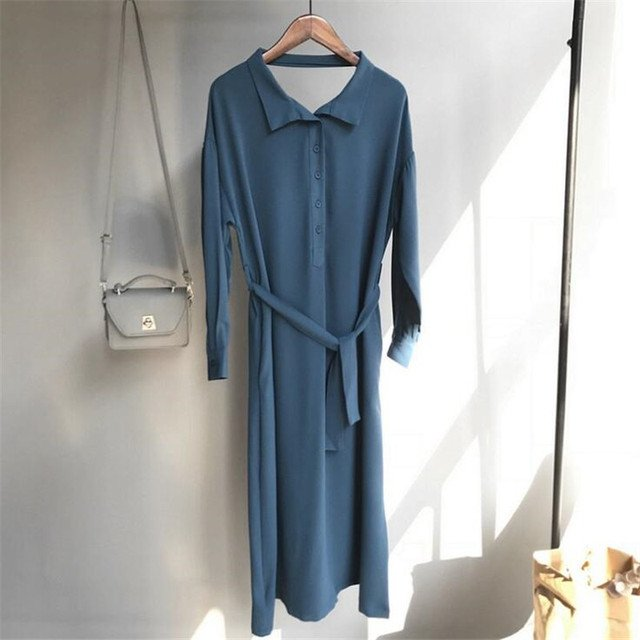 Breathable Hollow Out Dress 2018 Summer Style Solid Long Sleeve Chiffon Sashes Dress Vestidos Casual Loose Elegant Dresses