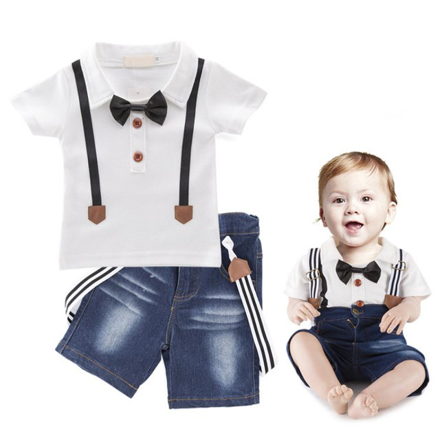 Summer Baby Clothing Set Boy Clothes Kids Boys Gentleman Clothes 2 Pieces Fashion Jeans Suits Children Outfits Kids Costume New