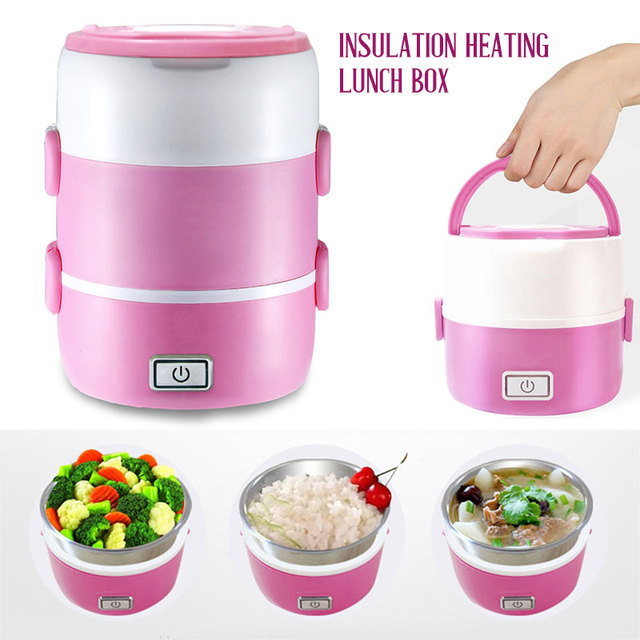 2019 Drop Shpping Pink Heating Lunch Box Mini Rice Cooker Multifunctional Portable Picnic Box Electric Cooker for Real Egg