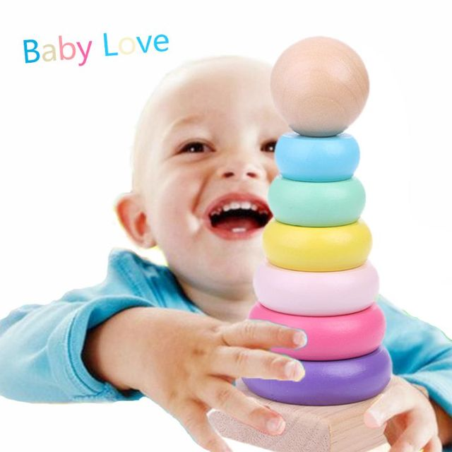 Hot New 1 Pc Warm Color Rainbow Stacking Ring Tower Stapelring Blocks Wood Toddler Toy Baby Infant Toys for Kids Girls Boys