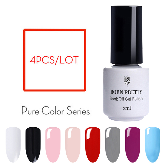 BORN PRETTY 4 Bottles Nail Gel Set 5ml  Wine Red Gray Pure Nail Color UV LED Gel Polish Nail Gel Manicure Art Gel Lacquer