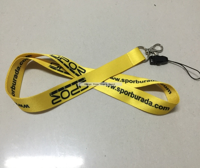 15MM width cheap lanyards,sublimation polyester print on both side cheap neck yellow strap lanyards for USB/cellphone/MP3
