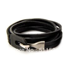 Fashion Jewelry ? shape anchor  mix design charm really Genuine leather bracelet for women free shipping