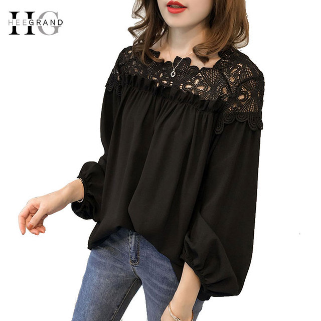 HEE GRAND Plus Size 3XL Women Blouses 2018 Summer White Lace Patchwork Shirts Long Sleeve Ladies Black Tops Blusa Femme WCL1625