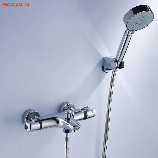 BAKALA Shower Faucet Set Bathroom Thermostatic Faucet Chrome Finish Mixer Tap W/ ABS Handheld Shower Wall Mounted