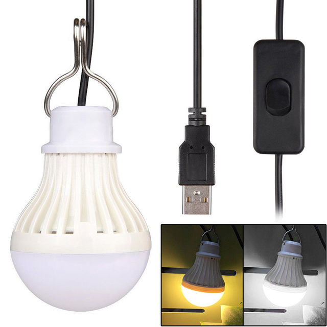 USB Switch Camping Bulb Flashlight Outdoor Night Lamp Emergency Light LED Hiking Travel Portable 5W for Fishing