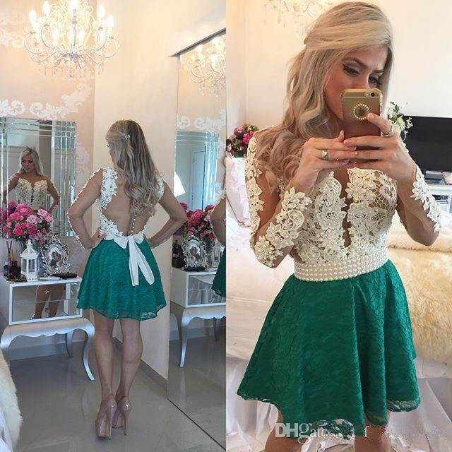 Green 2019 Cocktail Dresses A-line Long Sleeves Lace Pearls Short Mini Elegant Party Homecoming Dresses