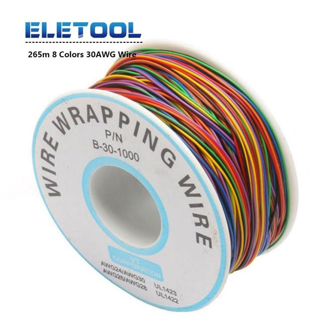 265m One Roll 8 Colors 30AWG Wire Wrapping Tinned Copper Solid PVC insulation Single Strand Copper Cable Ok Electrical  Wire