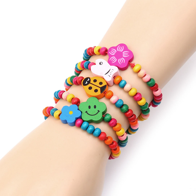5Pc Lovely Kids Children Wood Elastic Bead Bracelets Birthday Party Jewelry Gift T44