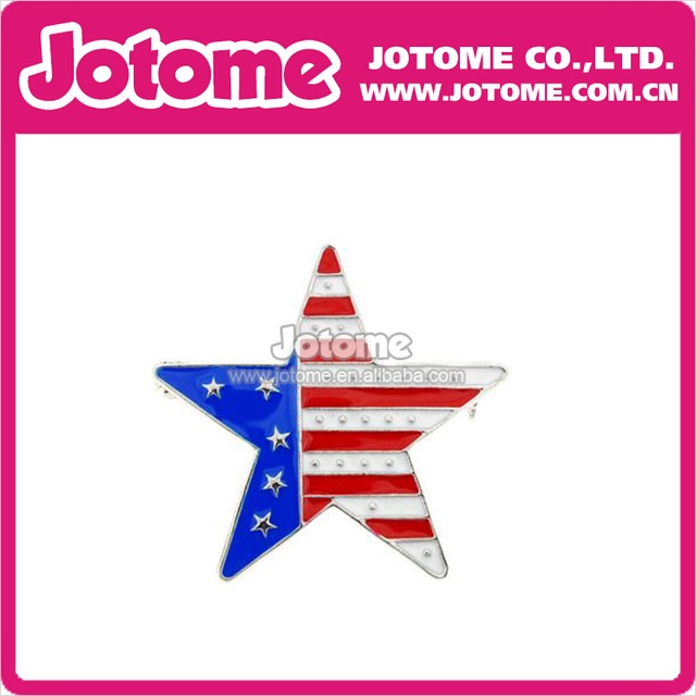 100pcs/lot  Fashion Men Women Jewelry Patriotic Star of America Flag Rhinestone Brooch for 4th of July