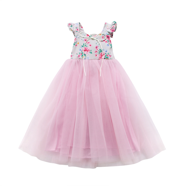 2018 Fashion Flower Girls Clothes Long Tutu Dress Cotton Patchwork Princess Party Wedding Formal Occasion Dress