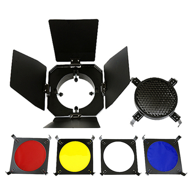 Universal Standard 9.8cm Photo Studio Barn Door Kit With Honeycomb Grid With 4 Colour Filter Set  for Strobe Flashlight