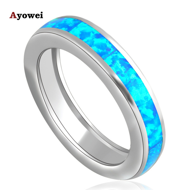 Lowest price Wholesale Retail Blue Fire Opal silver color Stamped Ring USA Sz #6#7#7.5#8#9#10 Fashion Jewelry for women OR691A