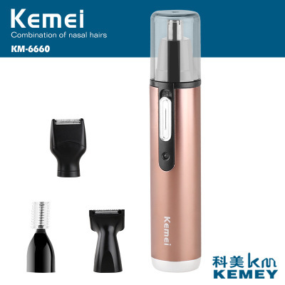 Kemei 4 in 1 Original Nose Trimmer Electric Shaving Safe Face Care Trimmer Rechargeable Nose Hair Trimer For Men Women