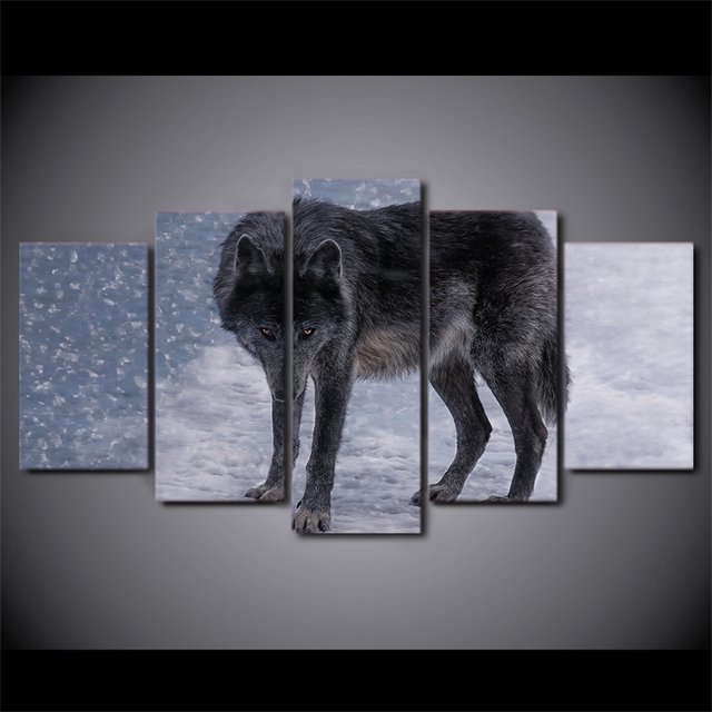 5 Pcs Red Eyes Snow Wolf Canvas HD Printed Poster Frame Painting Wall Art Pictures Framework Quadro Decorativo