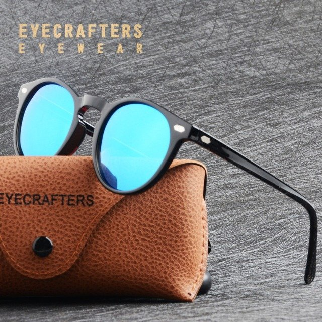 TR90 Lightweight Coating Mirrored Sun Glasses Men Women Classic Vintage Retro Polarized Sunglasses Round Sunglasses Eyewear