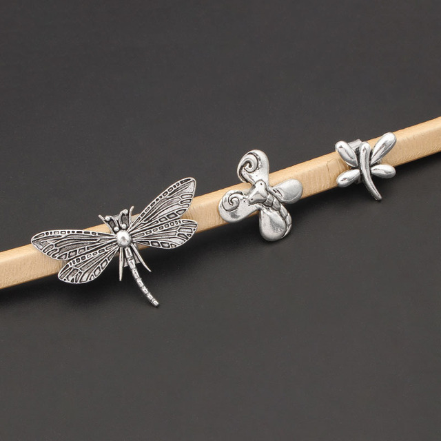 5pcs Antique Silver Color Dragonfly Slider Spacers For 10*6mm Licorice Leather Cord Bracelet Jewelry Making Accessories Making