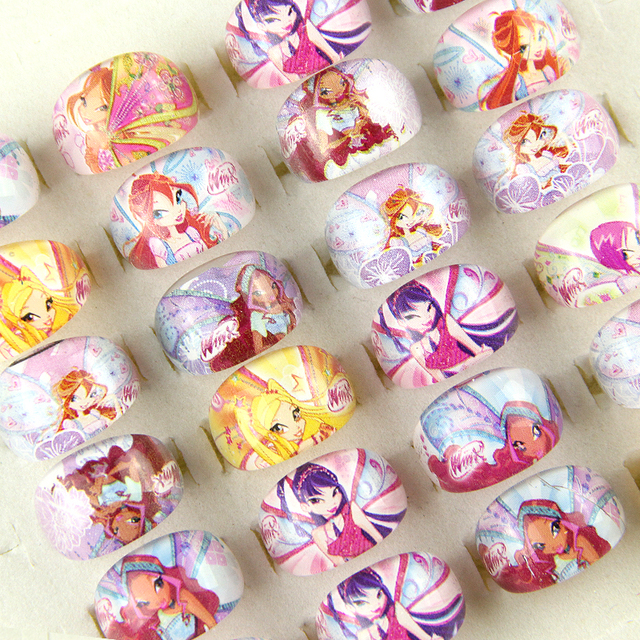 Wholesale 10pcs Lovely Cartoon Children Kids Girl Acrylic Resin Lucite Princess Rings Birthday Gift Jewelry Shop Mixed Lots