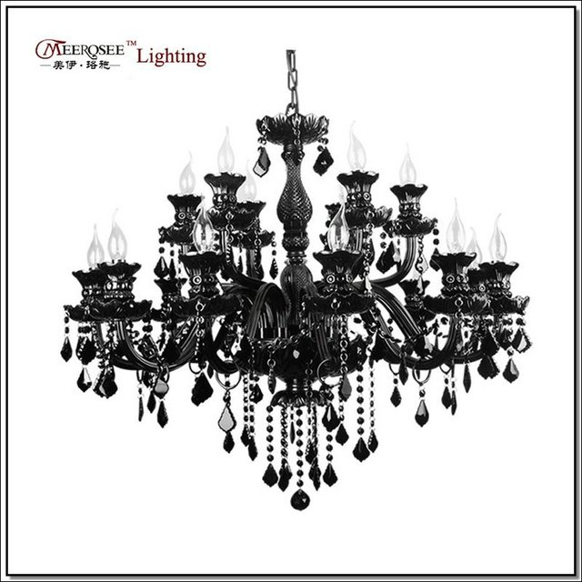 Luxury Large Black Glass Chandelier Lighting Premium Quality Crystal Lustres Lamp for Pendant With 18 Arms MD1003