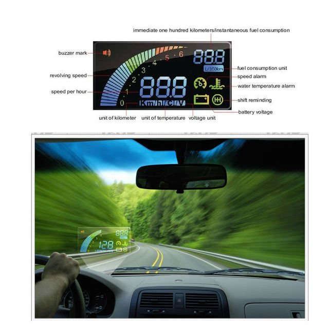 newest Universal ActiSafety Multi Car HUD Vehicle-mounted Head Up Display System OBD II Fuel Consumption Overspeed Warning