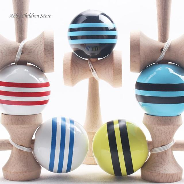 18.5cm Striped Kendama Colorful Painted Educational Wooden Toys Ball Skillful Game Juggling Ball Gift for Children Kids Toy