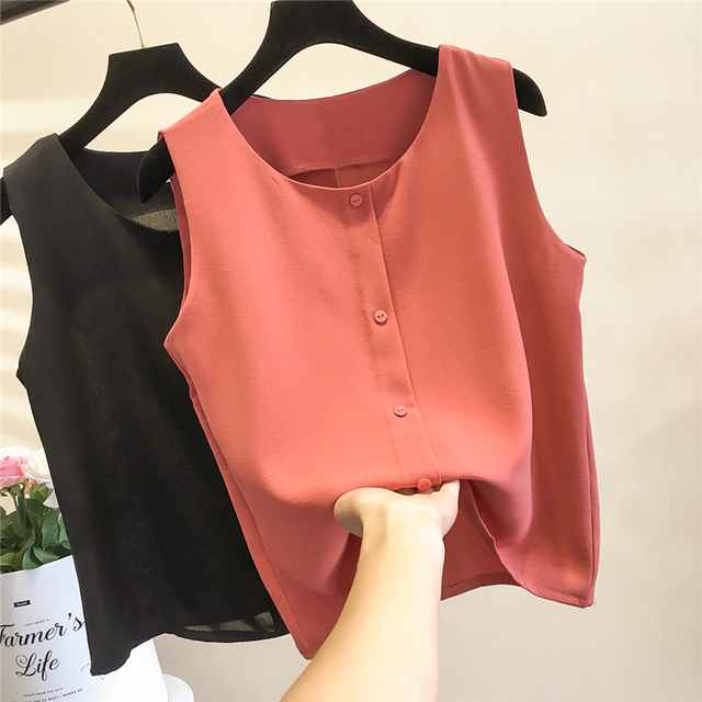 Sale Fashion Brand Women's blouse Summer sleeveless Chiffon shirt Solid O-neck Casual blouse Plus Size XXL Loose Female Top