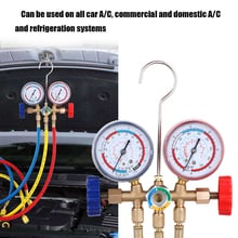 Pressure Monitors Air Conditioning Manifold Gauge Refrigerant Manifold Gauge Set with Hose and Hook for R12 R22 R404A R134A