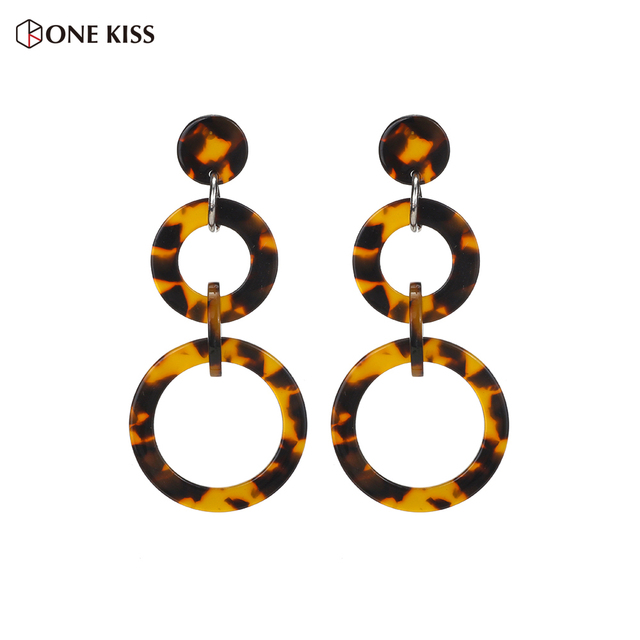 Vintage Acrylic Round Tortoiseshell Long Drop Earring Womens Fashion Multicolor Resin Statement Geometric Earring Party Jewelry