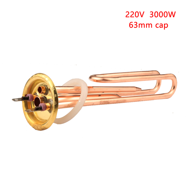 63mm Cap Brass Electric Water Heater Tube 220V 3000W  Heating Element Boiler Heater Parts