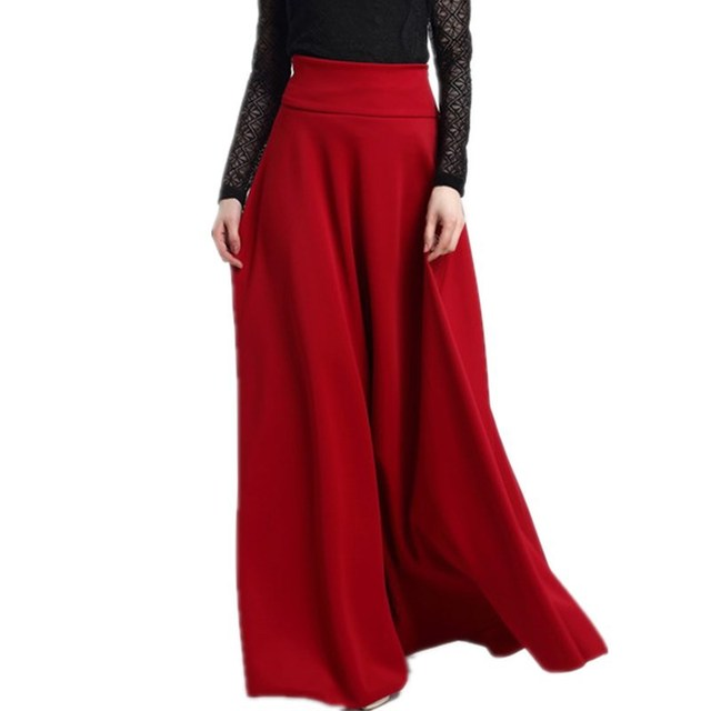 High Waist Roman Cloth Long Skirt Women Summer Solid Color Expansion Skirts