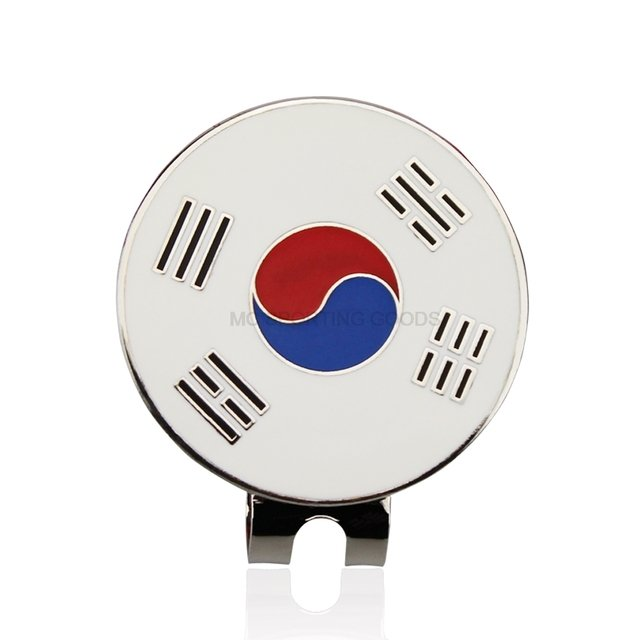 "Korea Flag Golf Ball marker 1pc GOG Ball Marker with Cap Clip  Alloy Professional 1.18"" 30mm For Korean"