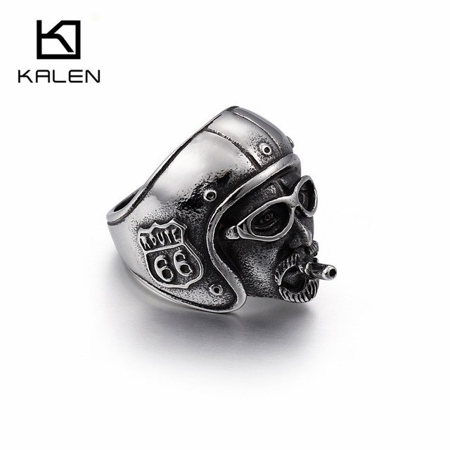 KALEN Punk Stainless Steel USA Road Route 66 Rings For Men Smoking Locomotive Motorcycle Biker Rings Size 8-12 Male Jewelry