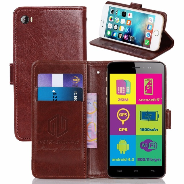GUCOON Vintage Wallet Case for Explay Rio 5.0inch PU Leather Retro Flip Cover Magnetic Fashion Cases Kickstand Strap