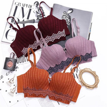 Embroidery Half Cup Wire Free Bra With Bow Women Lingerie Set