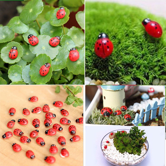 10Pcs Mini Cabochon Ladybug Fairy Garden Miniatures Garden Ornament Decoration Micro Landscape Bonsai Figurine Resin Crafts