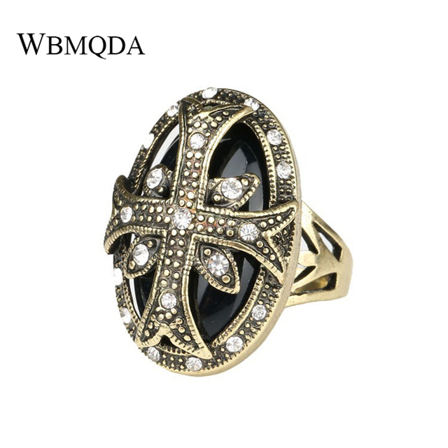 Vintage Crystal Cross Ring Antique Gold Indian Jewelry Doule Layer Black Red Green Stone Rings For Women Free Shipping