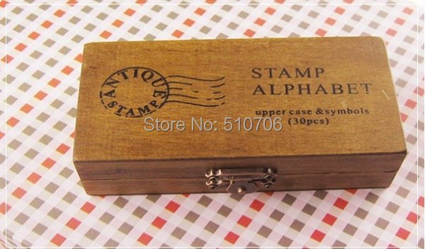 Free Shipping+30pcs/set,Creative Lowercase & Uppercase Alphabet wood rubber stamps set with wooden box,100sets/lot