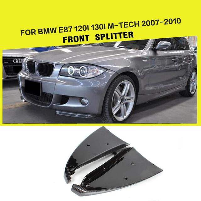 For BMW 1 Series E87 M Tech M Sport 2007 - 2011 Front Bumper Lip Side Splitters Aprons Flaps Cupwings Spoiler Carbon Fiber / FRP